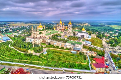 Aerial view of Holy Dormition Pochayiv Lavra, an Orthodox monastery in Ternopil Oblast of Ukraine. Eastern Europe