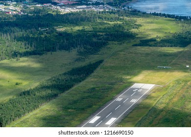 Aerial view of the Homer Airport runway in Homer Alaska on a sunny summer day