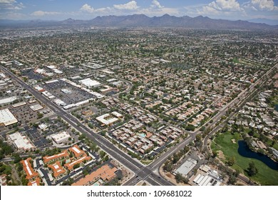 Aerial view of homes and apartments in upscale Scottsdale, Arizona