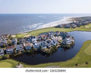Aerial view of homes facing golf course and Atlantic Ocean in South Carolina.
