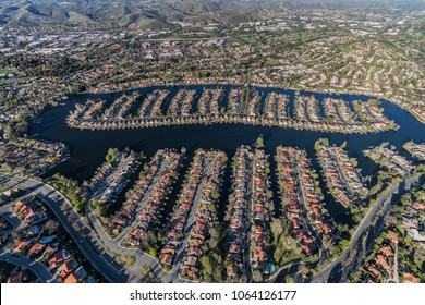 Aerial view of homes on Westlake Island in the Thousand Oaks and Westlake Village communities in Southern California.