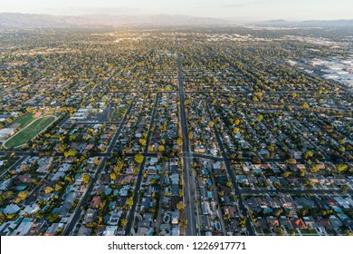 Aerial view of homes and streets along Lassen St in the Northridge neighborhood of Los Angeles, California.
