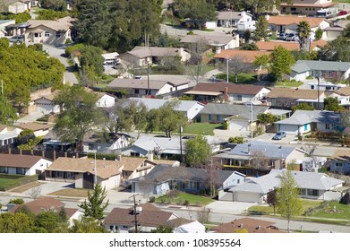 Aerial view of homes in subdivision in Oak View, Ventura County, California