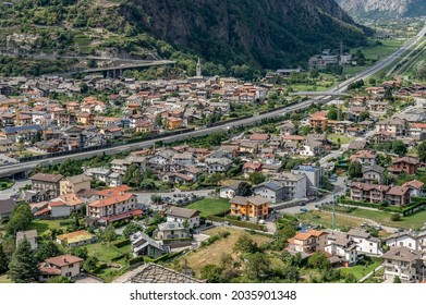 Aerial view of Hone and of the southern part of the Aosta Valley, Italy, from Bard's Fort