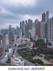 aerial view of Hong Kong apartment block in China.
