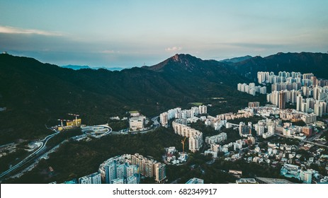 Aerial view of Hong Kong City in the sky