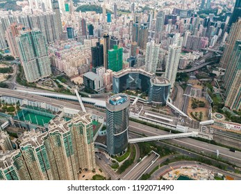 Aerial view of Hong Kong Island and Kowloon