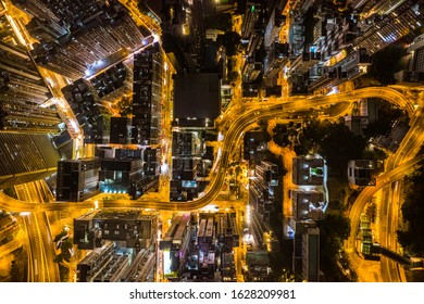 Aerial view of Hong Kong at night