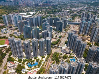 Aerial view of Hong Kong residential building