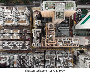 The aerial view of Hong Kong rooftops