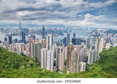 Aerial view of Honk Kong skyscrapers