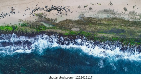 An aerial view of Ho'okipa Beach Park on Maui's North Shore near the town of Paia in Hawaii.
