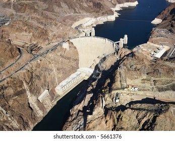 Aerial view of Hoover Dam on the Nevada-Arizona border.