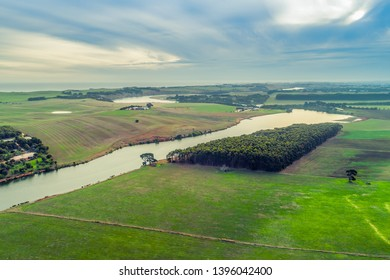 Aerial view of Hopkins River and grasslands near Warrnambool, Australia
