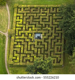 Aerial view of horta labyrinth in the gardens of Royal Palace Het Loo in Apeldoorn, Gelderland, Netherlands