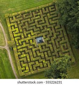 Aerial view of horta labyrinth in the gardens of Royal Palace Het Loo in Apeldoorn, Gelderland, Netherlands