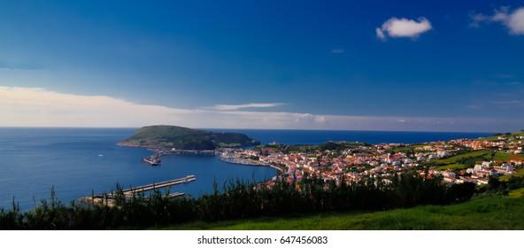 Aerial view to Horta marina and city at Faial island, Azores, Portugal