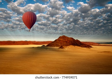 Aerial view from a Hot Air Balloon in the Sossusvlei area of the Namib-Naukluft Desert in Namibia