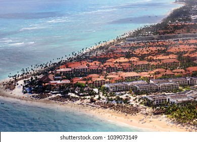 Aerial view of the Hotels on the Atlantic coast. Punta Cana. Dominican Republic