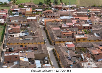 Aerial view of houese in Ollantaytambo in Sacred Valley of Peru