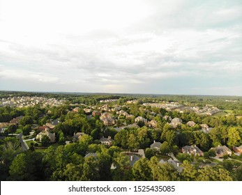 Aerial view of house cluster in a sub division in Atlanta suburbs in Georgia, USA