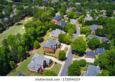 Aerial view of house cluster in a sub division in Suburbs in metro Atlanta in Georgia ,USA shot by drone