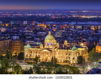 Aerial view the House of the National Assembly of the Republic of Serbia and Danube river by night