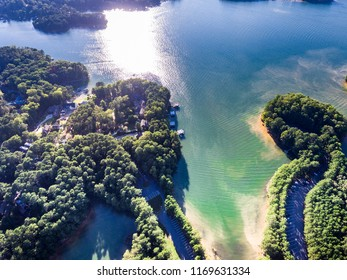 aerial view of houses and boat docks in Lake Lanier