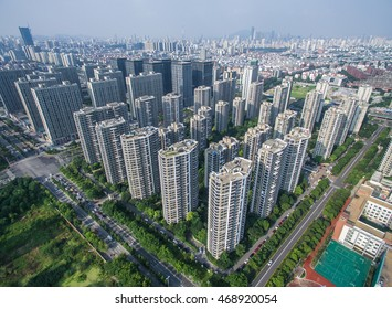 Aerial view of houses and building in nanjing,china