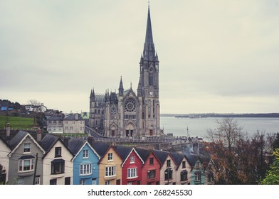 Aerial view at houses and Cathedral in Cobh, Ireland. Famous city and popular touristic destination
