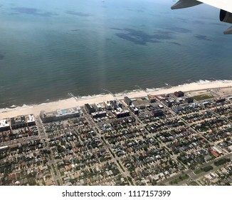 Aerial view of houses on Long Island beach