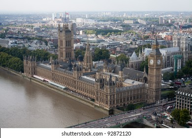 Aerial view of Houses of Parliament building in London
