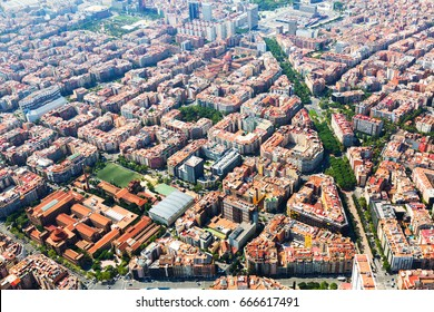 Aerial view of houses at residential district. Barcelona
