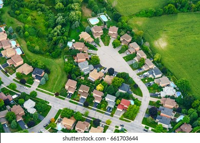 Aerial view of houses in residential suburb, Toronto, Ontario, Canada. aerial picture from ontario canada 2016