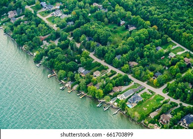Aerial view of houses in residential suburbs, Toronto, Ontario, Canada. aerial picture from ontario canada 2016