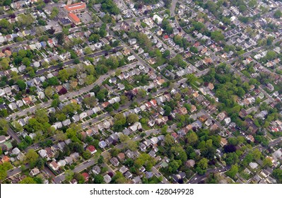 Aerial view of houses in suburban setting