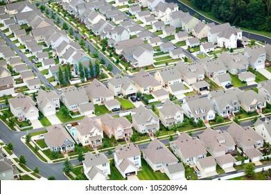 Aerial view of housing development in Charlotte, North Carolina