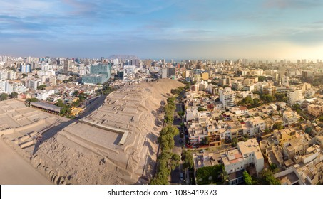 Aerial view of the Huaca Pucllana archeological complex and Miraflores district, in Lima, Peru.