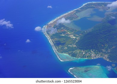 Aerial view of the Huahine Fare Airport (HUH), a small airstrip on the island and lagoon of Huahine near Tahiti in French Polynesia, South Pacific