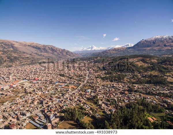 Aerial view of Huaraz city at morning, in Peru.