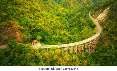 Aerial view of Huay Tong bridge in Nam Nao National Park connecting North and Northeast. Phetchabun Province, Thailand.The bridge is the highest in the country.