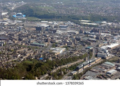 aerial view of Huddersfield town centre, West Yorkshire, UK