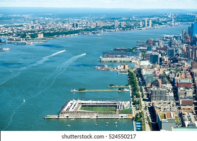Aerial view of the Hudson River dividing New York City from New Jersey in the United States