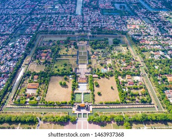 Aerial view of Hue Citadel and view of Hue city, Vietnam. Emperor palace complex, Hue Province, Vietnam