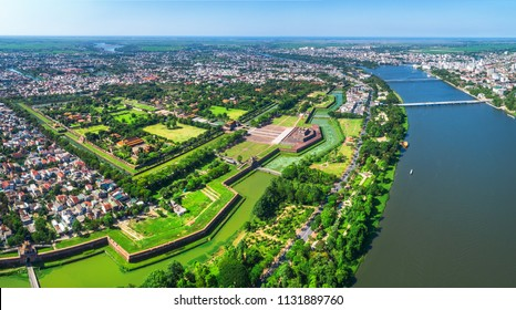 Aerial view of the Hue Citadel in Vietnam. Imperial Palace moat,Emperor palace complex, Hue Province, Vietnam