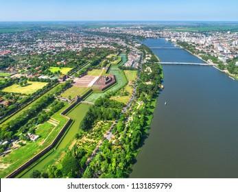 Aerial view of Hue city, Vietnam. Beauty of Hue Citadel and Huong river in Hue City, Vietnam.