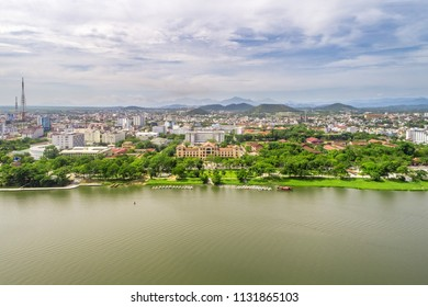 Aerial view of Hue city, Vietnam. Beauty Huong river in Hue City, Vietnam. People's Committee of Hue