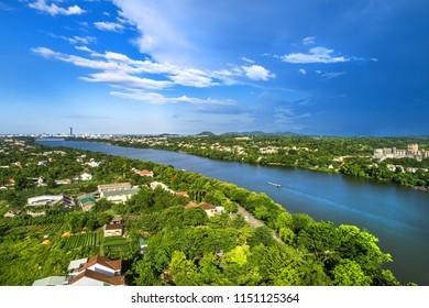 Aerial view of Hue city, Vietnam. Beauty Huong river in Hue City, Vietnam.