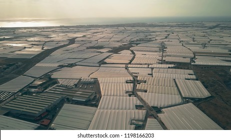 Aerial view of huge greenhouse farms near Almeria, Spain