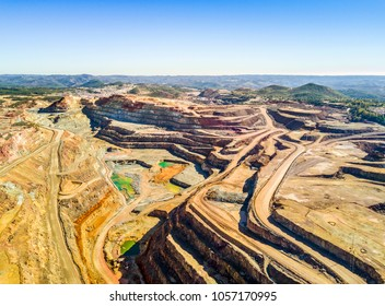 Aerial view of huge, modern open pit mine in Minas de Riotinto, Andalusia, Spain